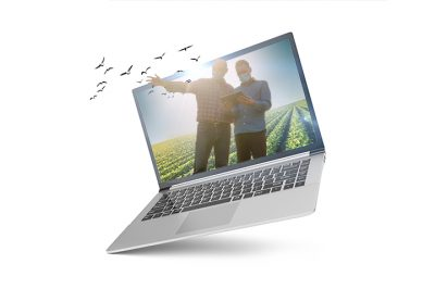 3D illustration Laptop isolated on white background. Laptop with empty space, screen laptop at an angle